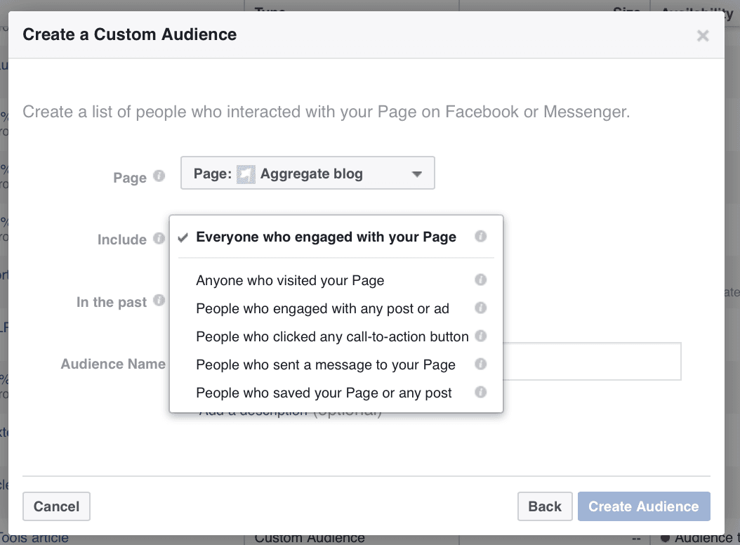 Image result for create new audience facebook